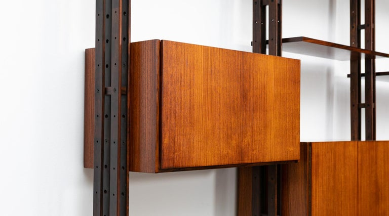 1950s Brown Teak and Aluminum Library by Franco Albini 'h' For Sale 7