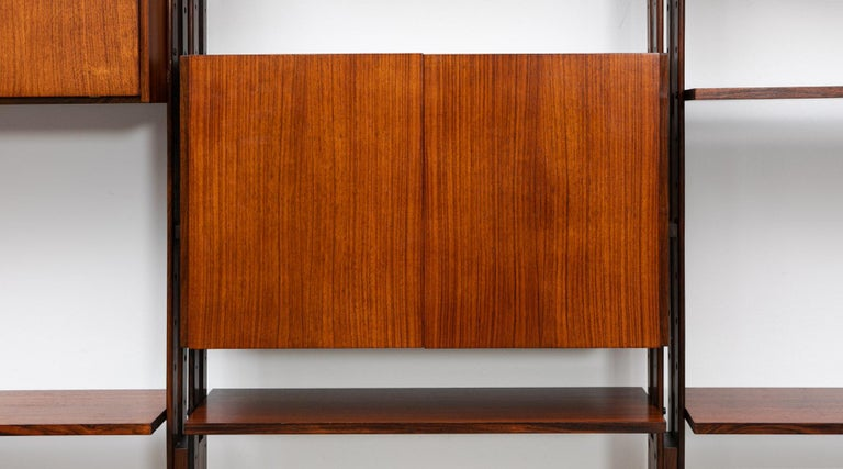 1950s Brown Teak and Aluminum Library by Franco Albini 'h' For Sale 1