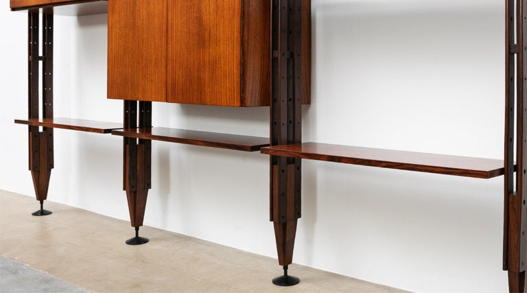 1950s Brown Teak and Aluminum Library by Franco Albini 'h' For Sale 2