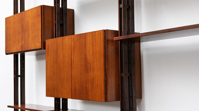 1950s Brown Teak and Aluminum Library by Franco Albini 'h' For Sale 3
