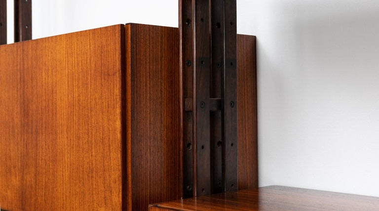 1950s Brown Teak and Aluminum Library by Franco Albini 'h' For Sale 4