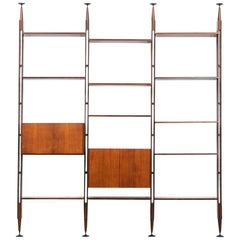1950s Brown Teak and Aluminum Library by Franco Albini 'h'