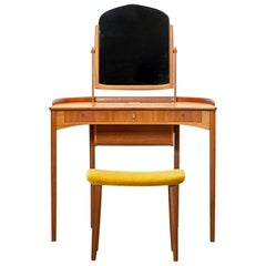 1950s Brown Teak Dressing Table with Stool by Carl Malmsten