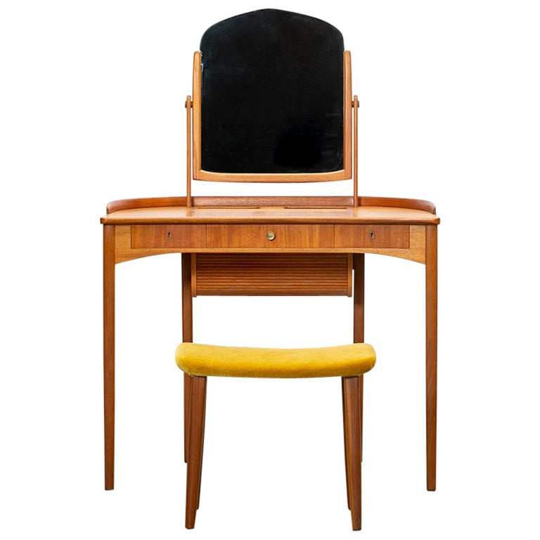 1950s Brown Teak Dressing Table with Stool by Carl Malmsten For Sale