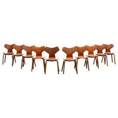 1950s Brown Teak Grand Prix Chairs by Arne Jacobsen, Set of Ten