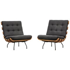 1950s Brown Teak Pair of Lounge Chairs by Martin Eisler and Carlo Hauner