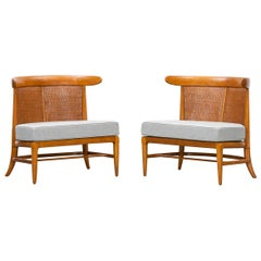 1950s Brown Walnut and Cane Lounge Chairs by Lubberts and Mulder 'i'