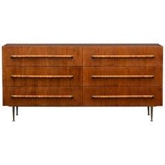 1950s Brown Walnut Sideboard by T.H. Robsjohn-Gibbings