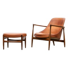 1950s Brown Wooden and Leather Lounge Chair with Ottoman by Ib Kofod-Larsen