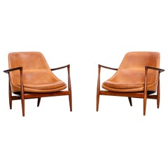 1950's Brown Wooden and Leather Pair of Lounge Chairs by Ib Kofod-Larsen