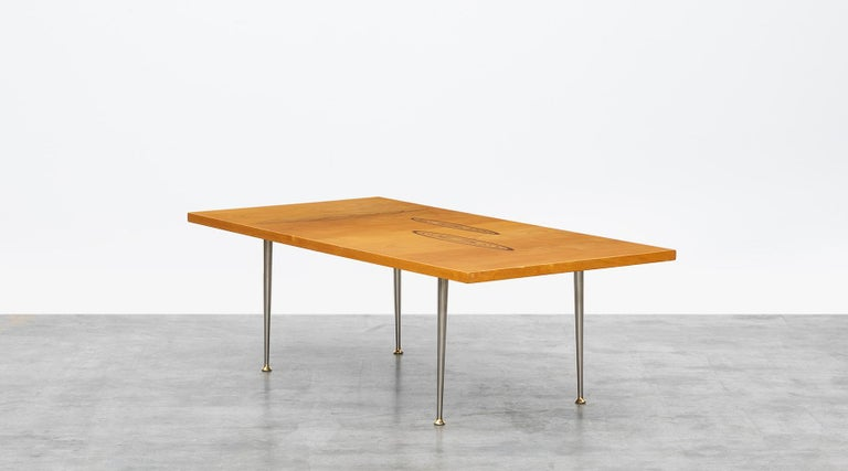 Mid-Century Modern 1950s Brown Wooden Coffee Table by Tapio Wirkkala 'd' For Sale