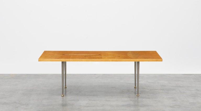 Metal 1950s Brown Wooden Coffee Table by Tapio Wirkkala 'd' For Sale