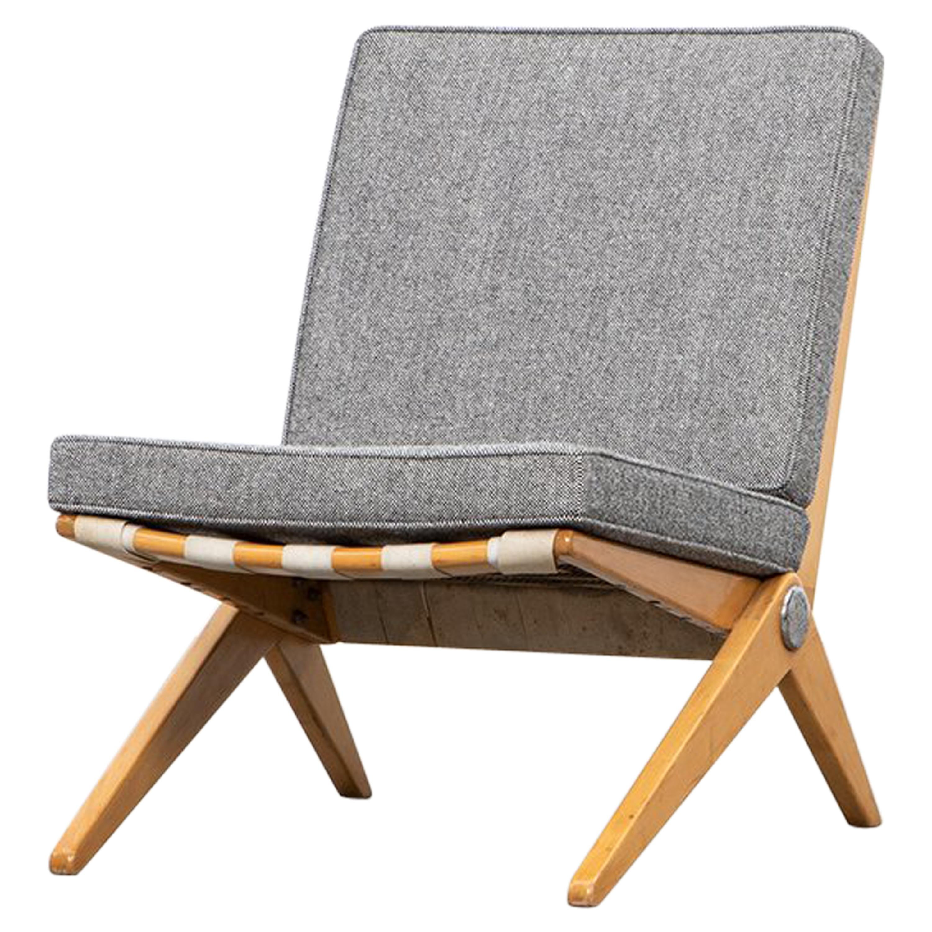 1950s Brown Wooden Easy Chair by Pierre Jeanneret 'd'
