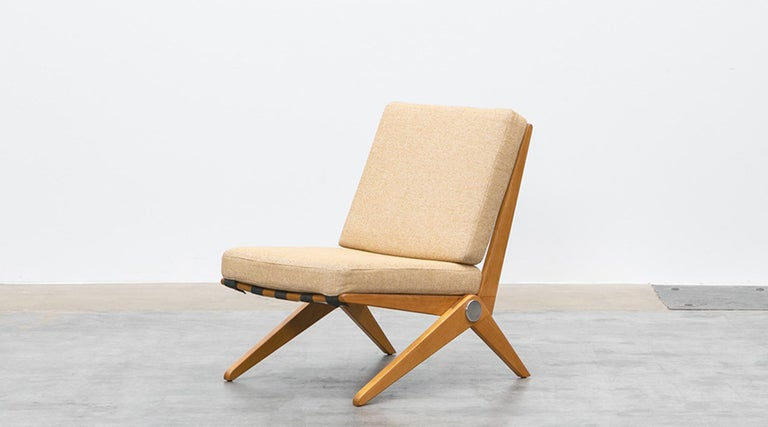 American 1950s Brown Wooden Easy Chairs by Pierre Jeanneret For Sale