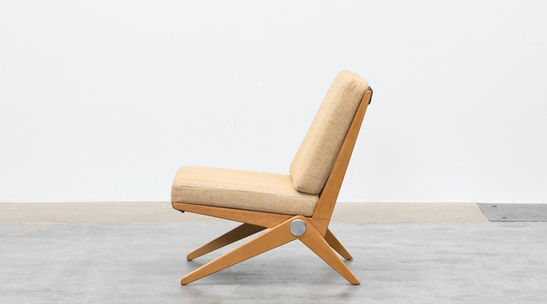 1950s Brown Wooden Easy Chairs by Pierre Jeanneret In Good Condition For Sale In Frankfurt, Hessen, DE