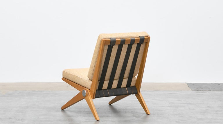 Mid-20th Century 1950s Brown Wooden Easy Chairs by Pierre Jeanneret For Sale