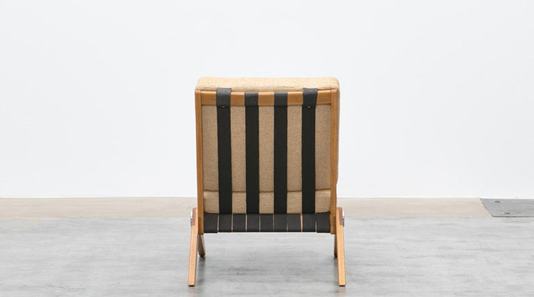 Upholstery 1950s Brown Wooden Easy Chairs by Pierre Jeanneret For Sale