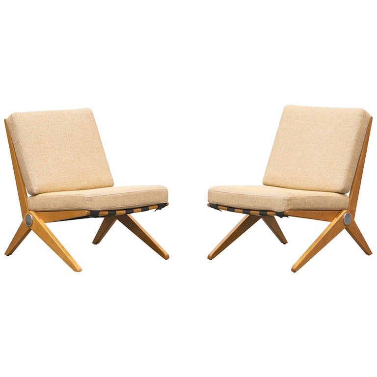 1950s Brown Wooden Easy Chairs by Pierre Jeanneret For Sale