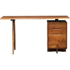 1950s Brown Wooden Freeform Walnut Desk by George Nakashima 'D'