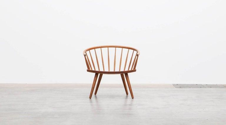 Mid-Century Modern 1950s Brown Wooden Oak Pair of Lounge Chairs by Yngve Ekström For Sale