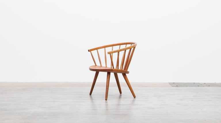 Swedish 1950s Brown Wooden Oak Pair of Lounge Chairs by Yngve Ekström For Sale