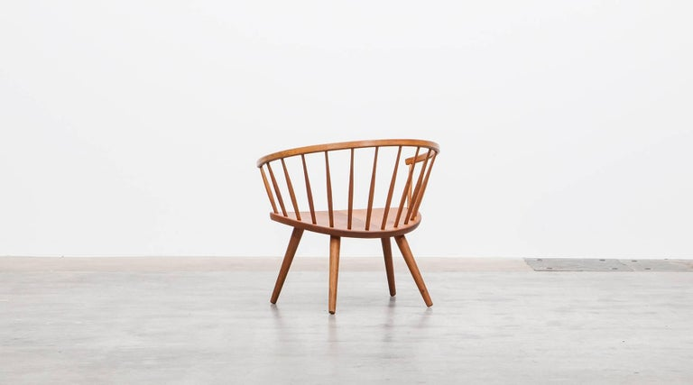 Mid-20th Century 1950s Brown Wooden Oak Pair of Lounge Chairs by Yngve Ekström For Sale