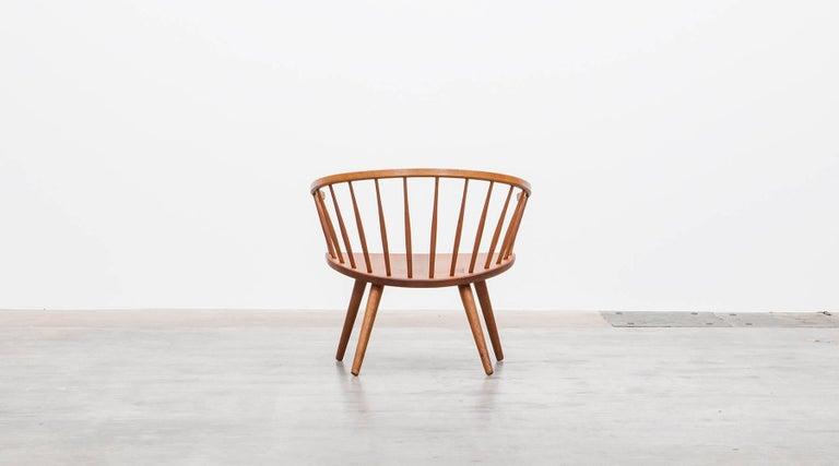 1950s Brown Wooden Oak Pair of Lounge Chairs by Yngve Ekström For Sale 1