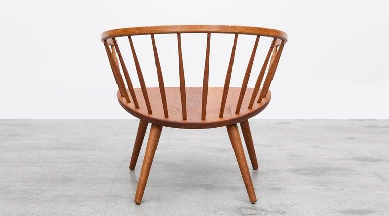 1950s Brown Wooden Oak Pair of Lounge Chairs by Yngve Ekström For Sale 2