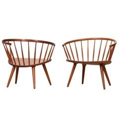 1950s Brown Wooden Oak Pair of Lounge Chairs by Yngve Ekström