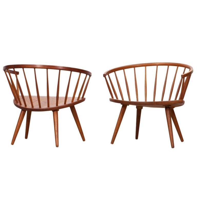 1950s Brown Wooden Oak Pair of Lounge Chairs by Yngve Ekström For Sale