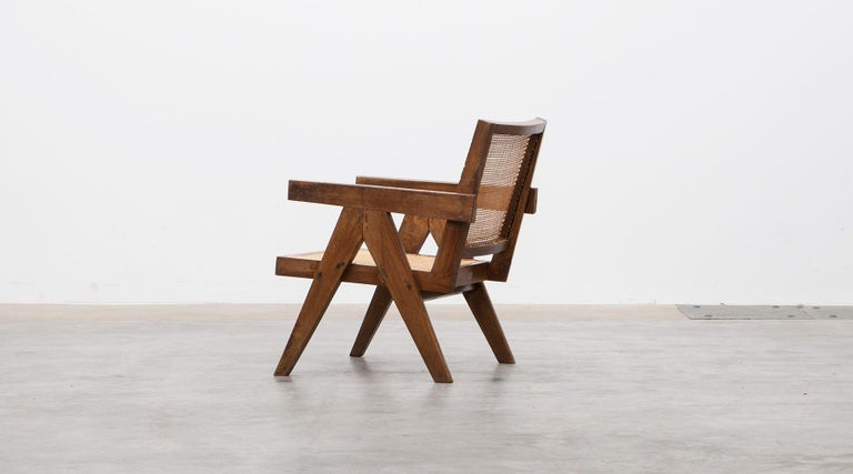1950s Brown Wooden Teak and Cane Lounge Chairs by Pierre Jeanneret 'c' 4