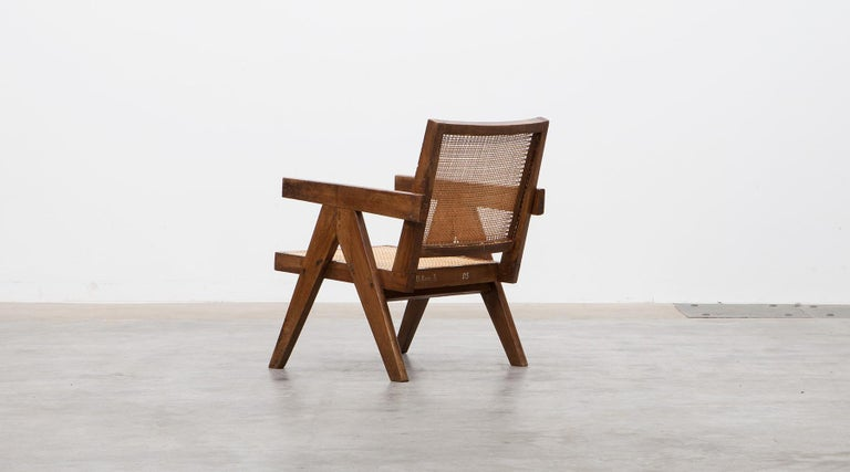 1950s Brown Wooden Teak and Cane Lounge Chairs by Pierre Jeanneret 'c' 5