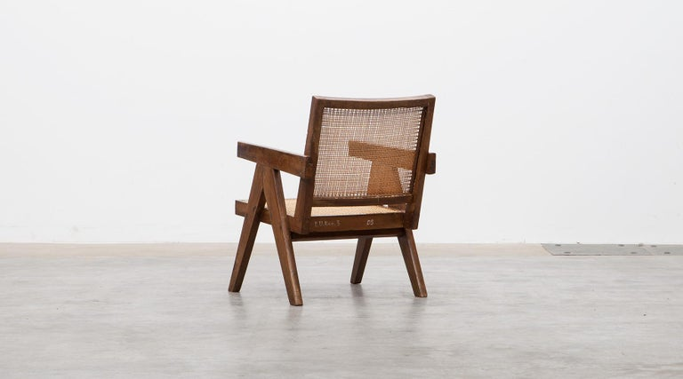 1950s Brown Wooden Teak and Cane Lounge Chairs by Pierre Jeanneret 'c' 6