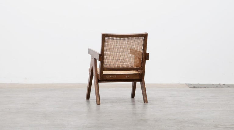 1950s Brown Wooden Teak and Cane Lounge Chairs by Pierre Jeanneret 'c' 7