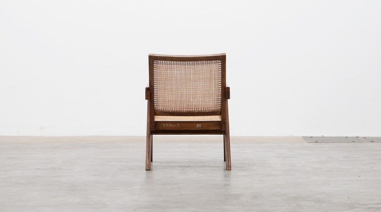 1950s Brown Wooden Teak and Cane Lounge Chairs by Pierre Jeanneret 'c' 8