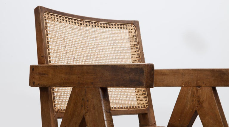 1950s Brown Wooden Teak and Cane Lounge Chairs by Pierre Jeanneret 'c' 10