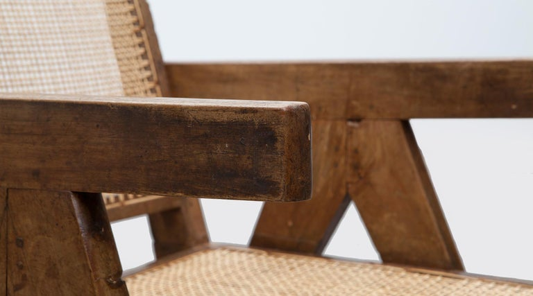 1950s Brown Wooden Teak and Cane Lounge Chairs by Pierre Jeanneret 'c' 12