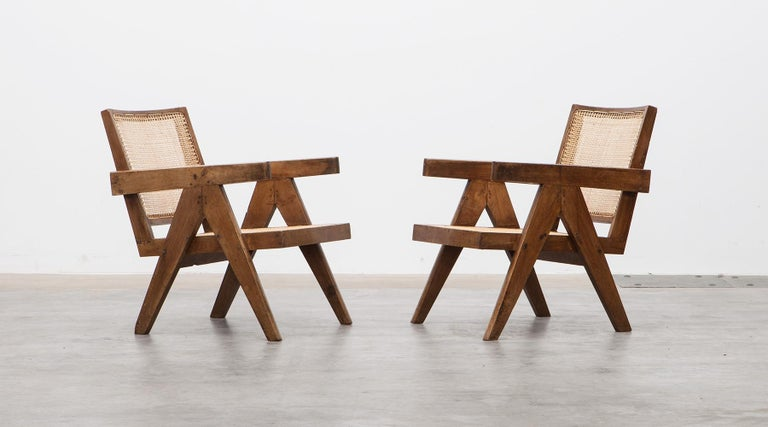 Mid-Century Modern 1950s Brown Wooden Teak and Cane Lounge Chairs by Pierre Jeanneret 'c'
