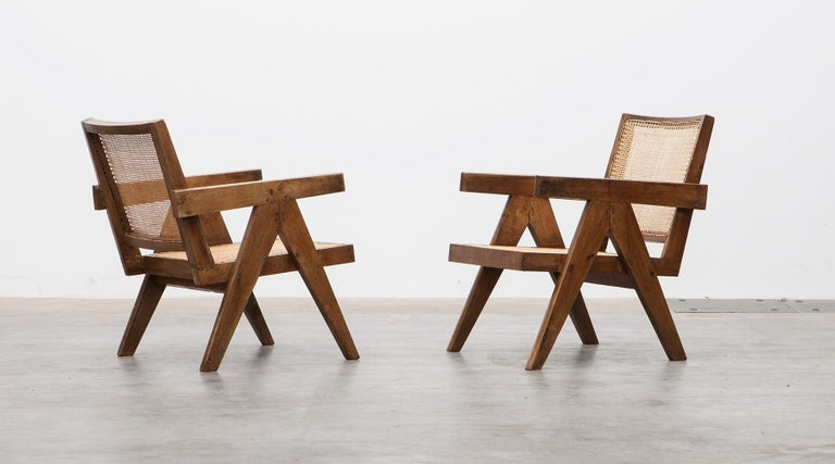 Indian 1950s Brown Wooden Teak and Cane Lounge Chairs by Pierre Jeanneret 'c'