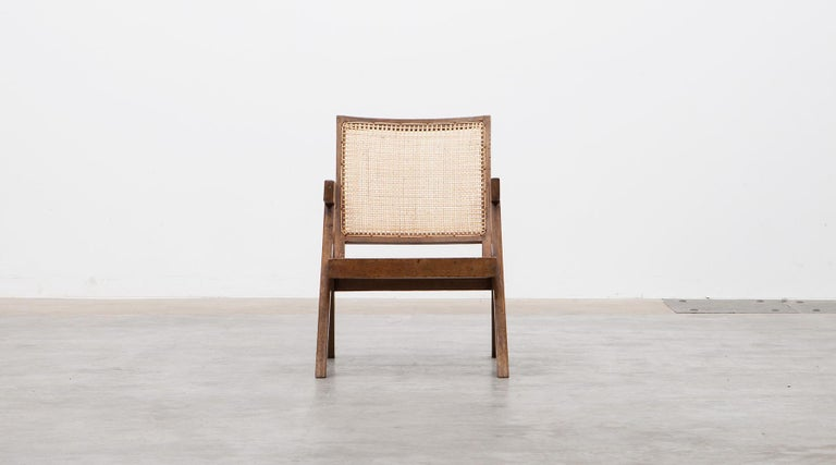 1950s Brown Wooden Teak and Cane Lounge Chairs by Pierre Jeanneret 'c' In Excellent Condition In Frankfurt, Hessen, DE