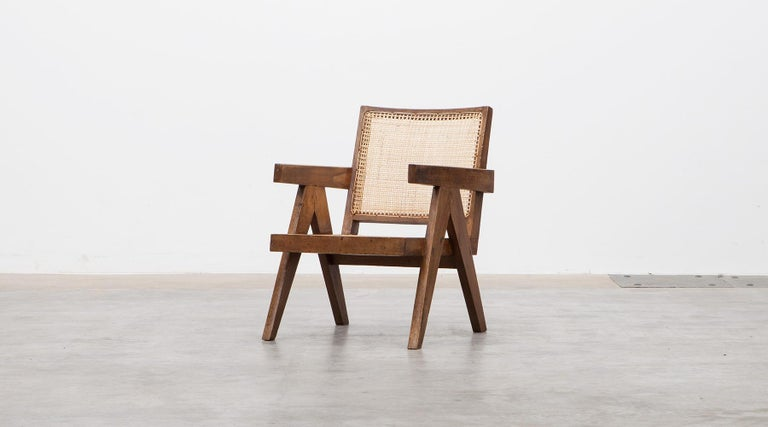 Mid-20th Century 1950s Brown Wooden Teak and Cane Lounge Chairs by Pierre Jeanneret 'c'
