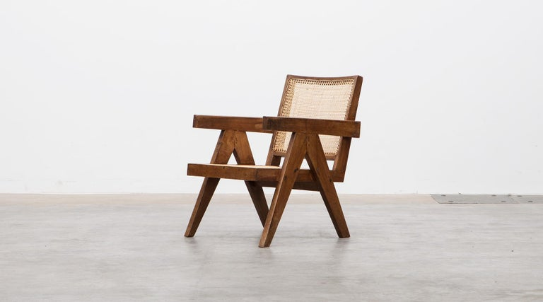 1950s Brown Wooden Teak and Cane Lounge Chairs by Pierre Jeanneret 'c' 1