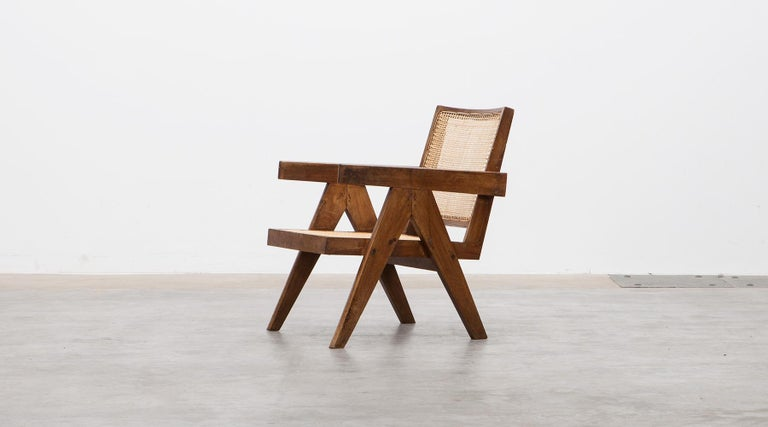 1950s Brown Wooden Teak and Cane Lounge Chairs by Pierre Jeanneret 'c' 2