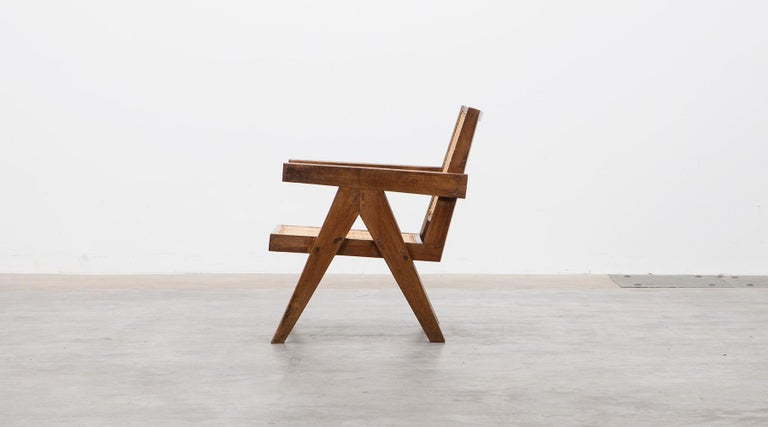 1950s Brown Wooden Teak and Cane Lounge Chairs by Pierre Jeanneret 'c' 3