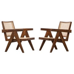 1950s Brown Wooden Teak and Cane Lounge Chairs by Pierre Jeanneret 'd'