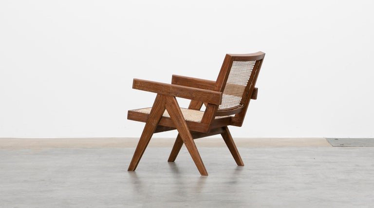 1950s Brown Wooden Teak and Cane Lounge Chairs by Pierre Jeanneret 'f' 4
