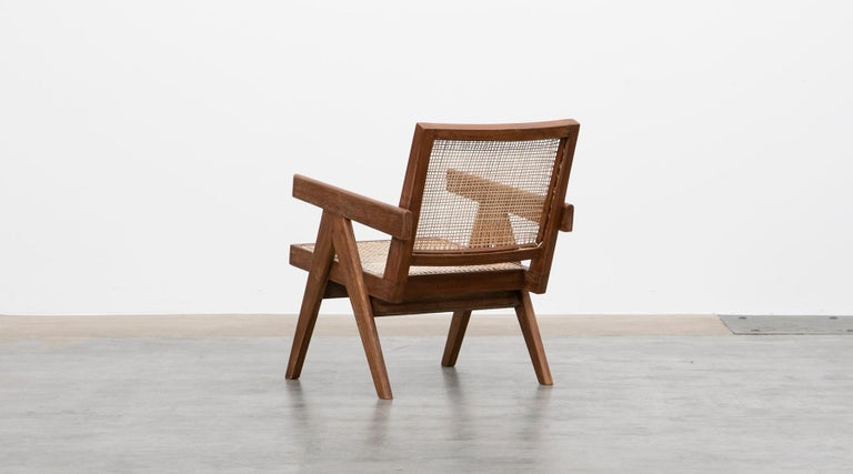 1950s Brown Wooden Teak and Cane Lounge Chairs by Pierre Jeanneret 'f' 5
