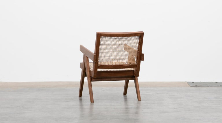 1950s Brown Wooden Teak and Cane Lounge Chairs by Pierre Jeanneret 'f' 6