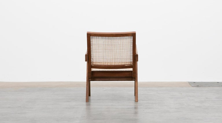 1950s Brown Wooden Teak and Cane Lounge Chairs by Pierre Jeanneret 'f' 7