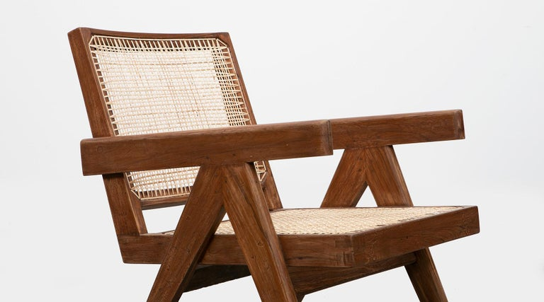1950s Brown Wooden Teak and Cane Lounge Chairs by Pierre Jeanneret 'f' 9